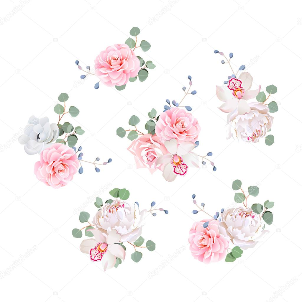 Small Wedding Bouquets Vector Design Elements. U2014 Stock Vector