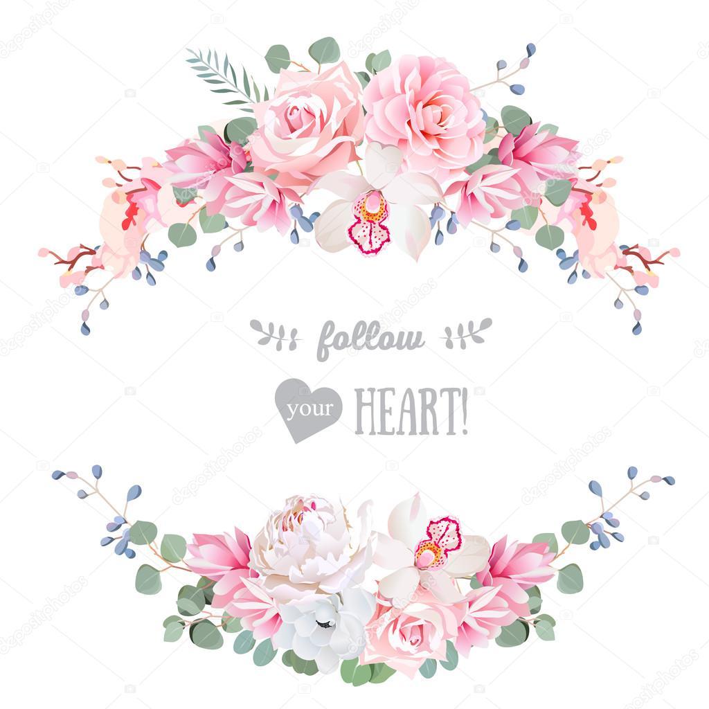 かわいい結婚式花のベクトルのデザイン フレーム花バナー ストライプ
