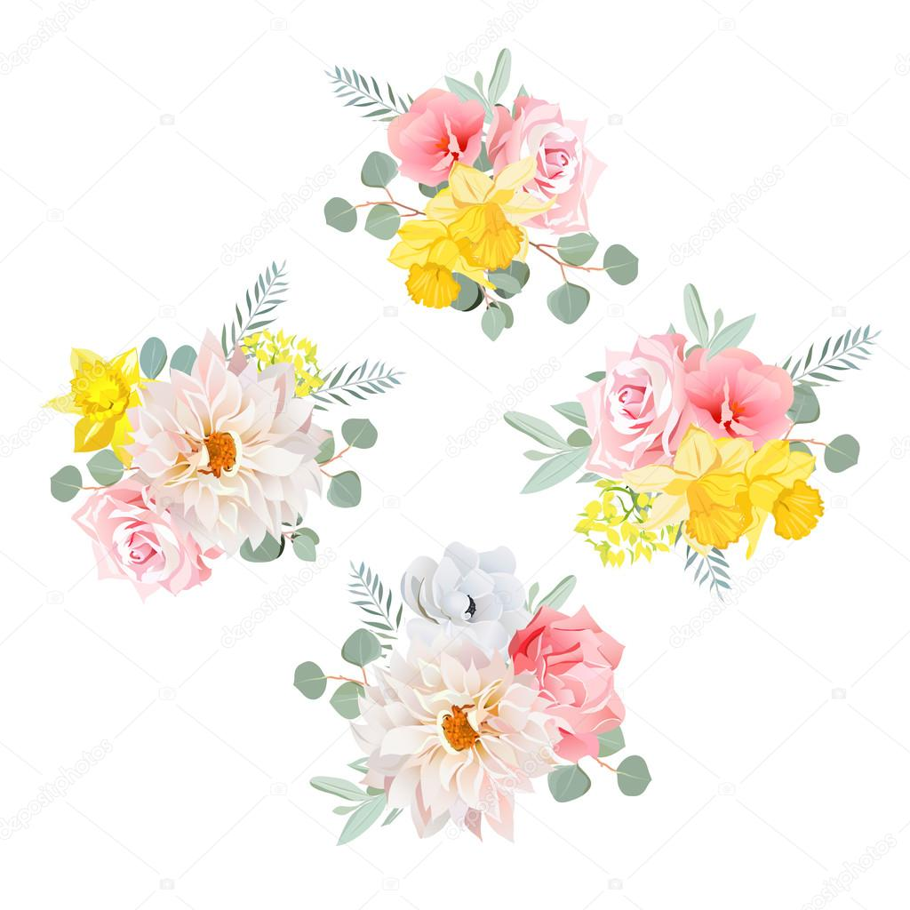 Bouquets of dahlia, rose, narcissus, anemone, pink flowers and e