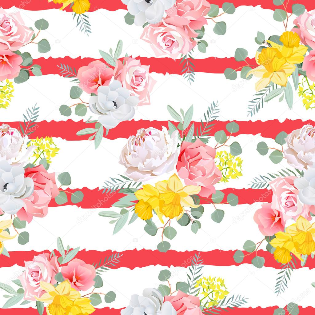 Red striped print with bouquets of rose, peony, narcissus, pink
