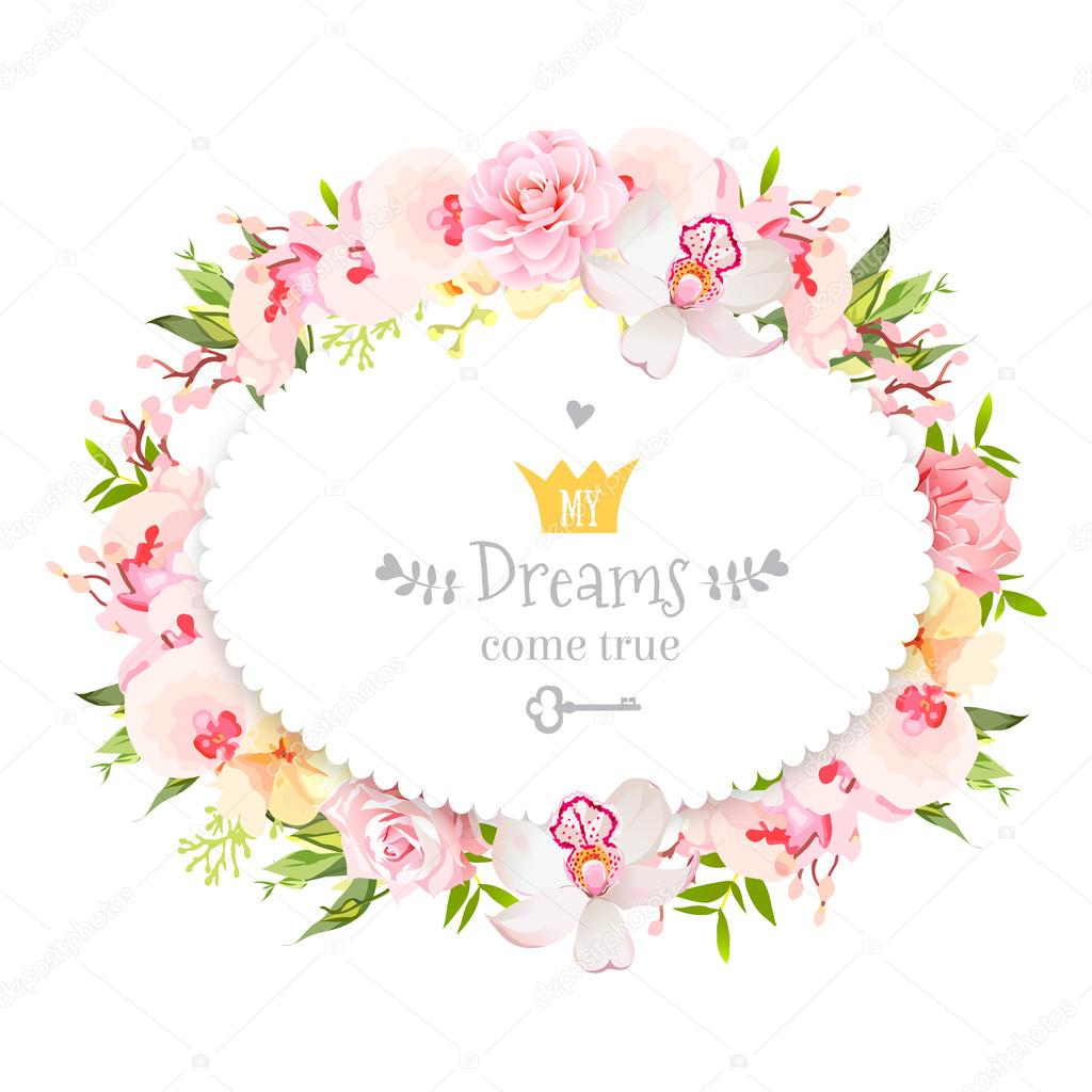 Oval floral vector design frame. Orchid, rose, camellia flowers