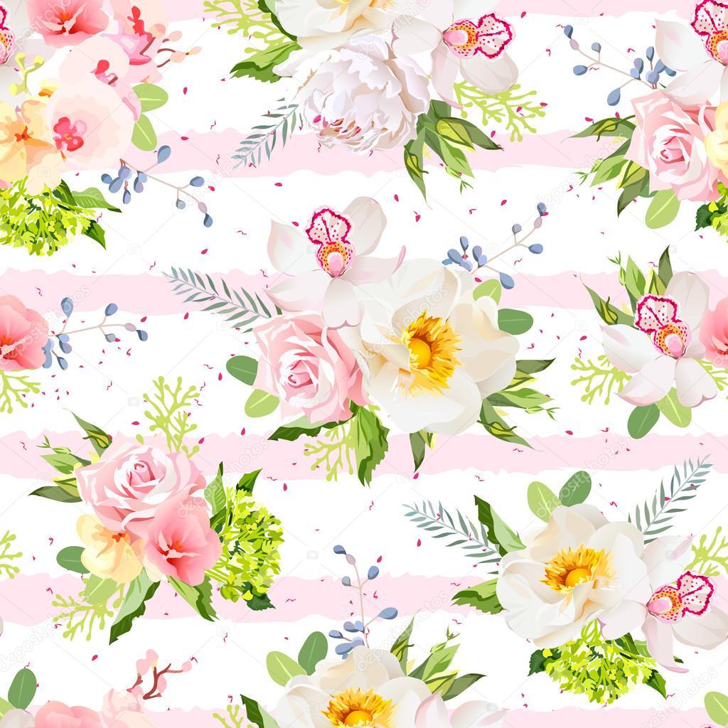 Letnie Kwiaty Ogrodowe Wektor Wzór Grafika Wektorowa