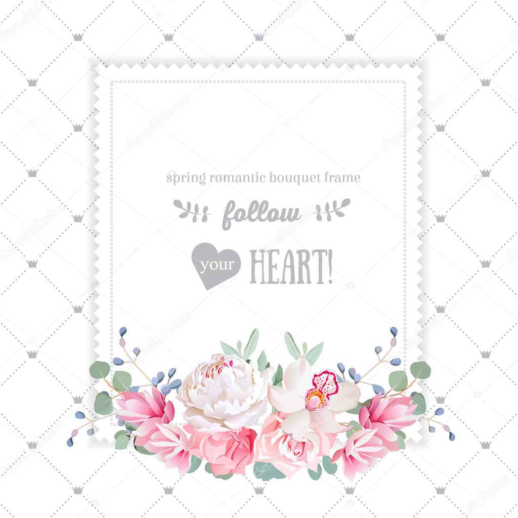 Square floral vector design frame. Orchid, rose, peony, carnatio