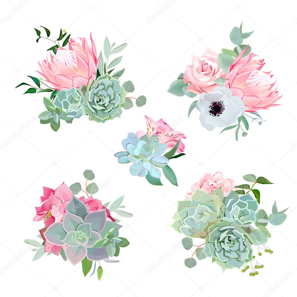 Stylish small bouquets of succulents, protea, rose, anemone, ech