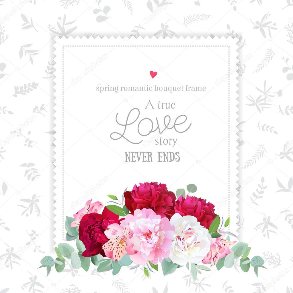 Luxury floral vector design square frame. Peony, alstroemeria li