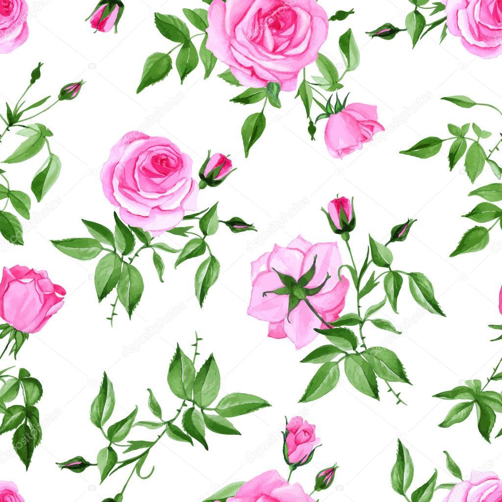 Watercolor pink rose seamless vector print