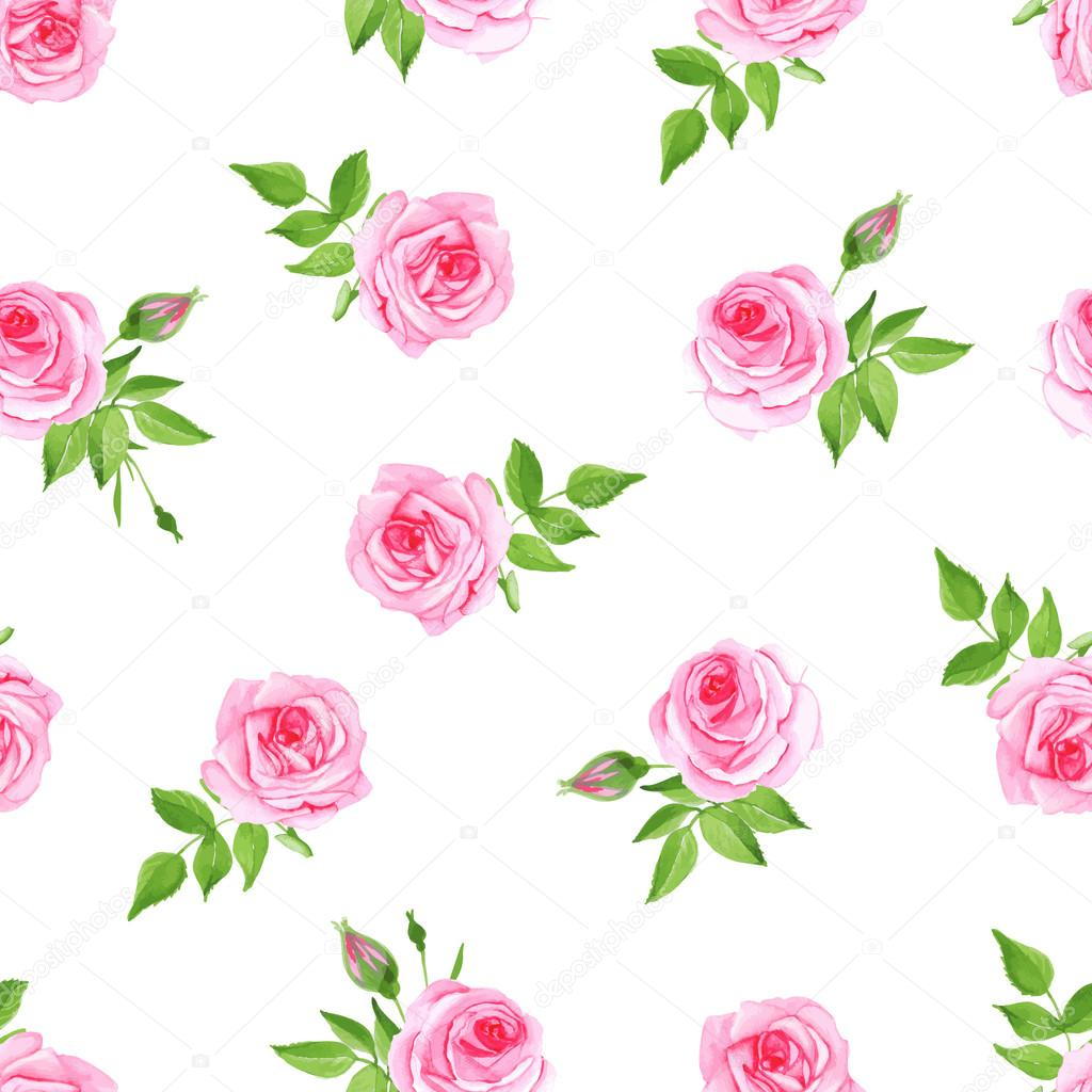 Luxury roses watercolor seamless vector print