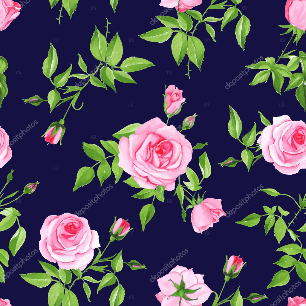 Vintage navy with pink rose seamless vector print
