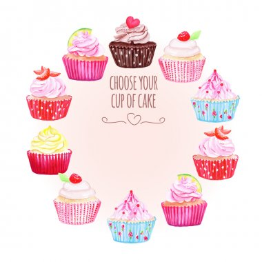 Colorful cupcakes vector design round frame