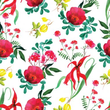 Roses and flowers watercolor seamless vector print
