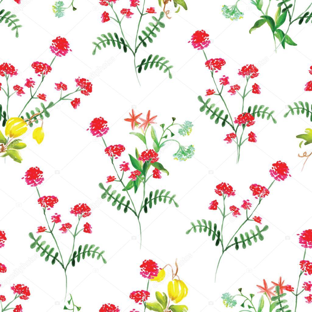 Summer flowers watercolor seamless vector pattern