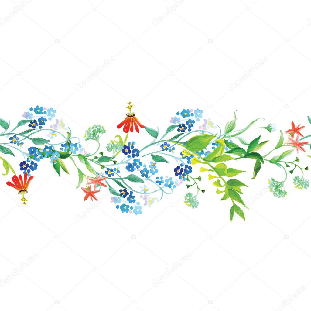 Meadow flowers seamless horizontal vector banner