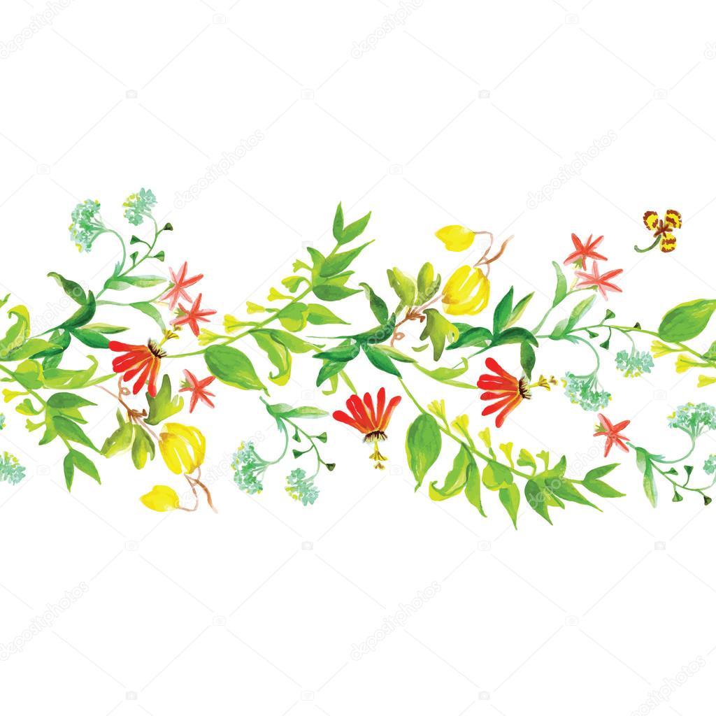 Summer flowers seamless horizontal vector banner
