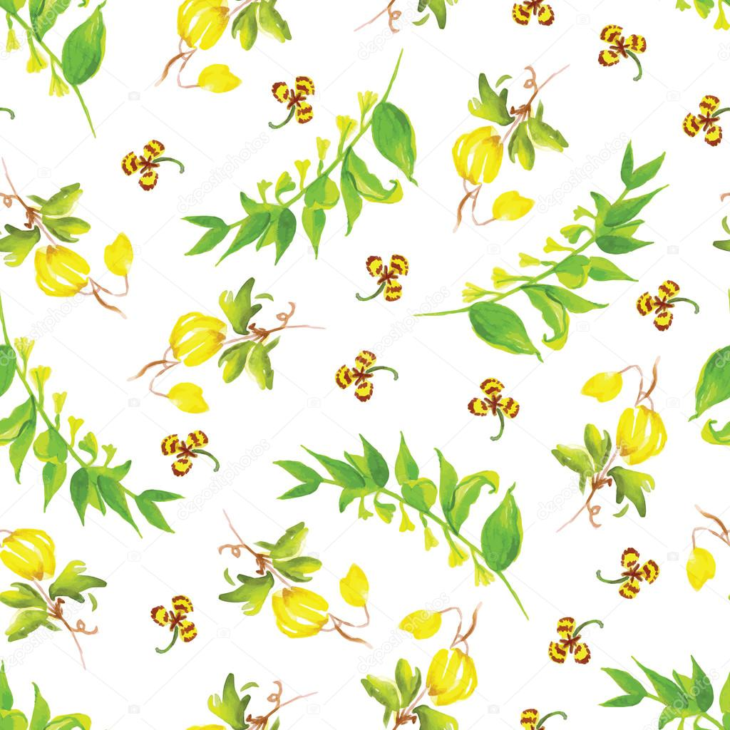 Summer watercolor seamless vector pattern