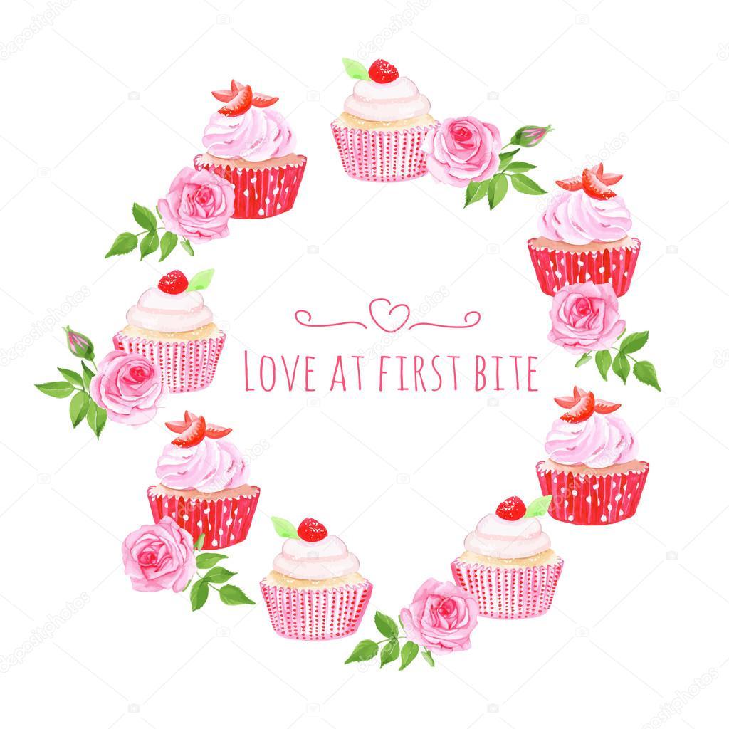 Diseño vectorial de cupcakes mesa redonda marco — Archivo Imágenes ...