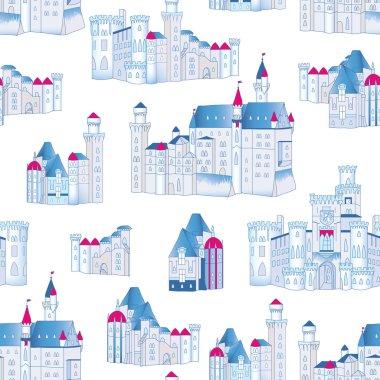 Winter blue castles vector seamless pattern