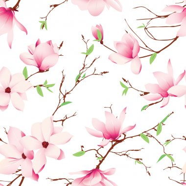 Spring magnolia flowers seamless pattern