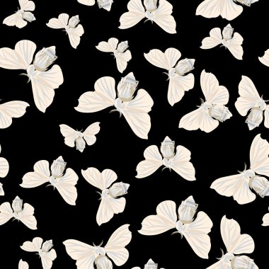 Silk moth black seamless vector pattern