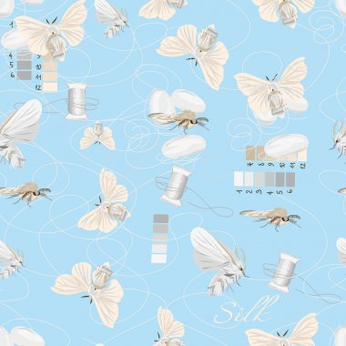 Silk cultivation cyan seamless vector pattern