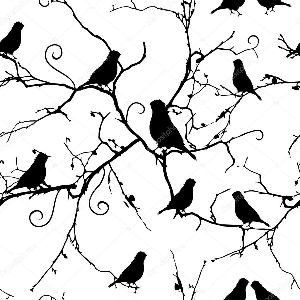 Birds on swirling branches seamless pattern, EPS10 file