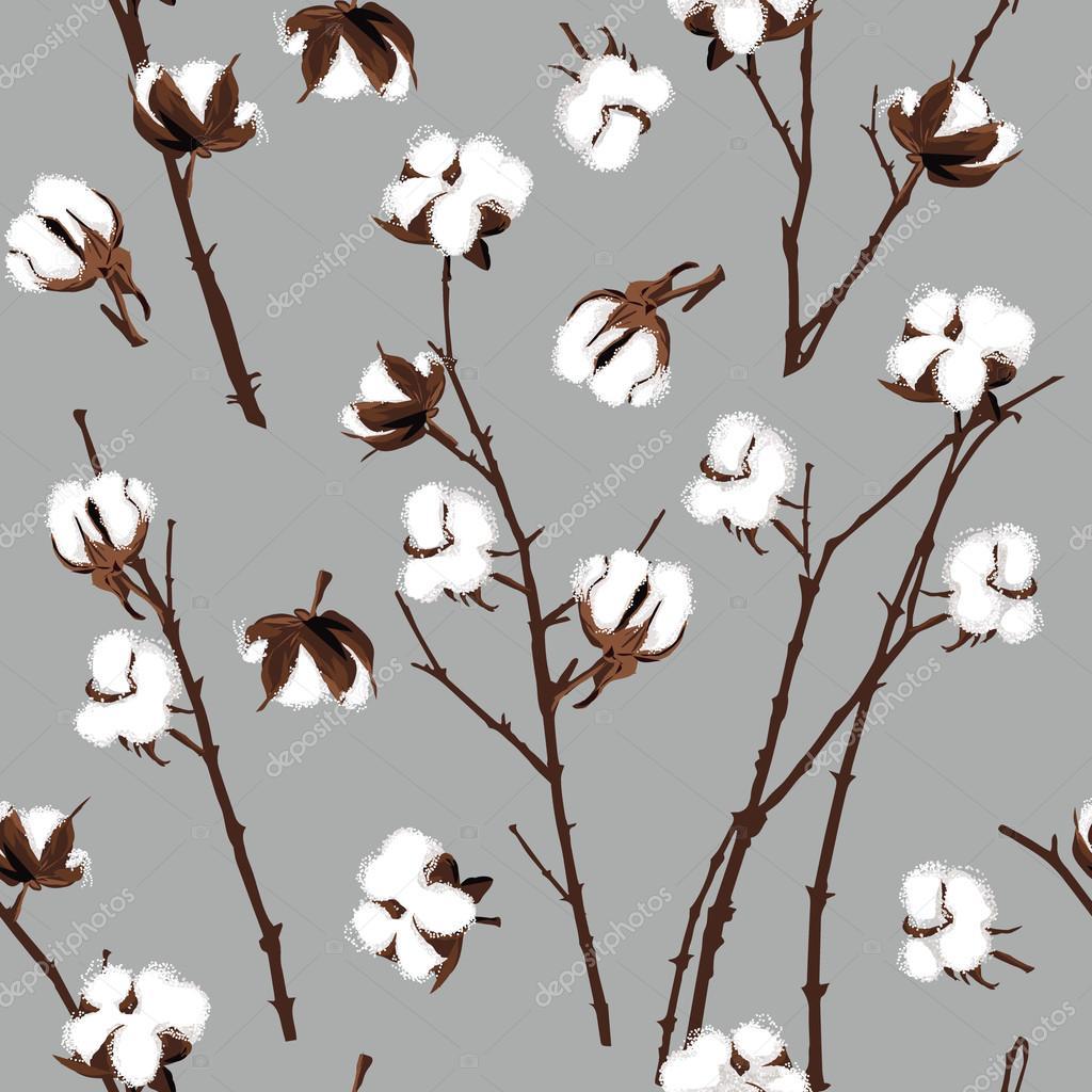 Cotton plants grey seamless pattern