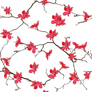 Red cotton tree chinese seamless print