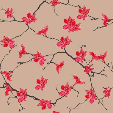 Red flowers almond seamless pattern