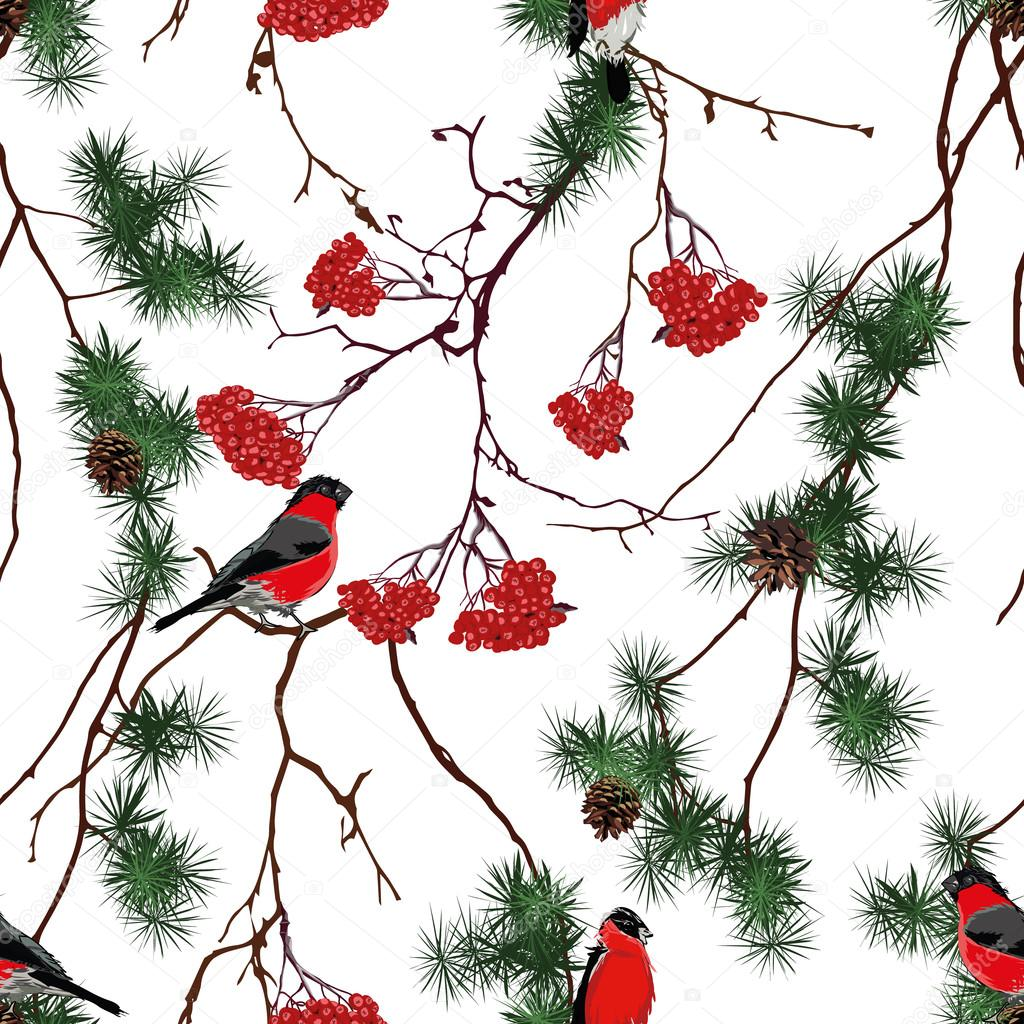 Winter forest Christmas seamless pattern