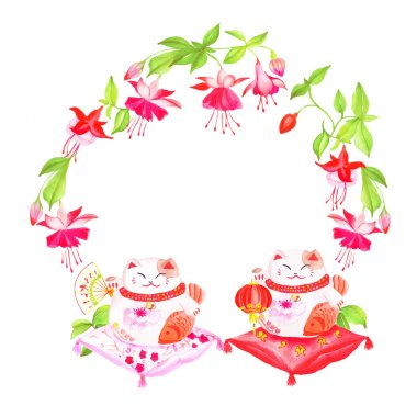 Chinese fuchsia and lucky cats sitting on pillows watercolor vec
