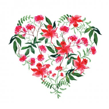 Watercolor wild flowers vector design heart