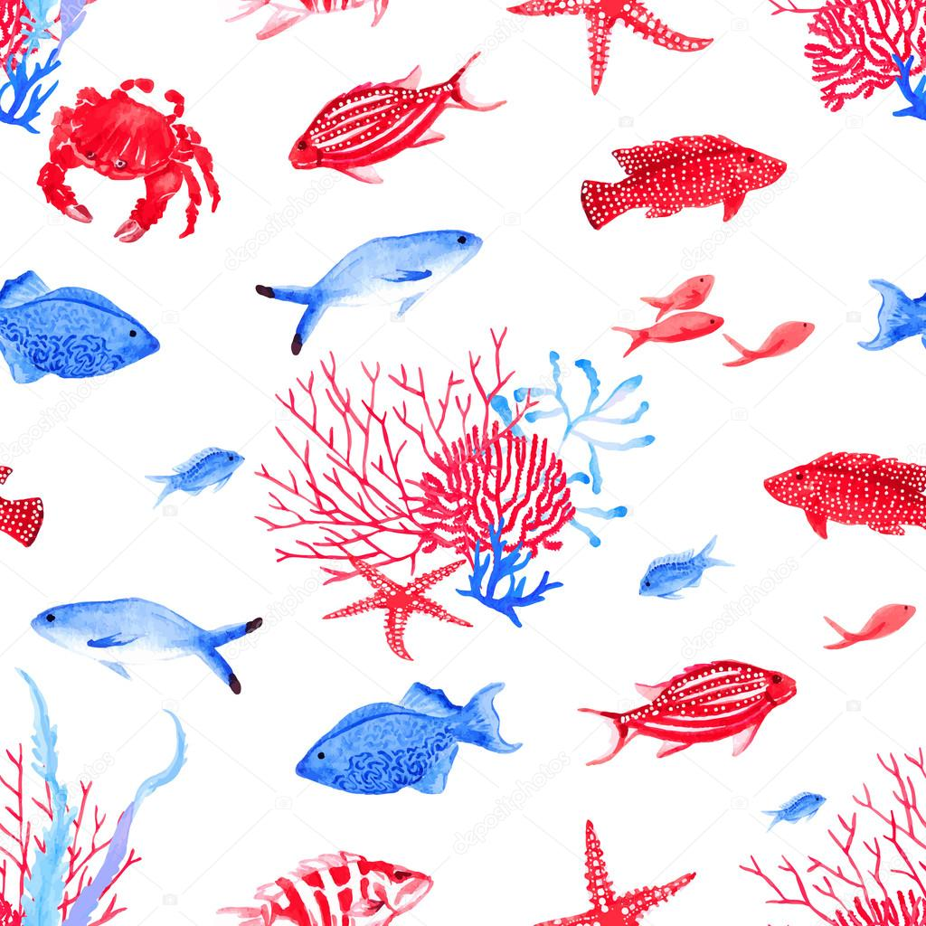 Red and blue underwater seamless vector pattern