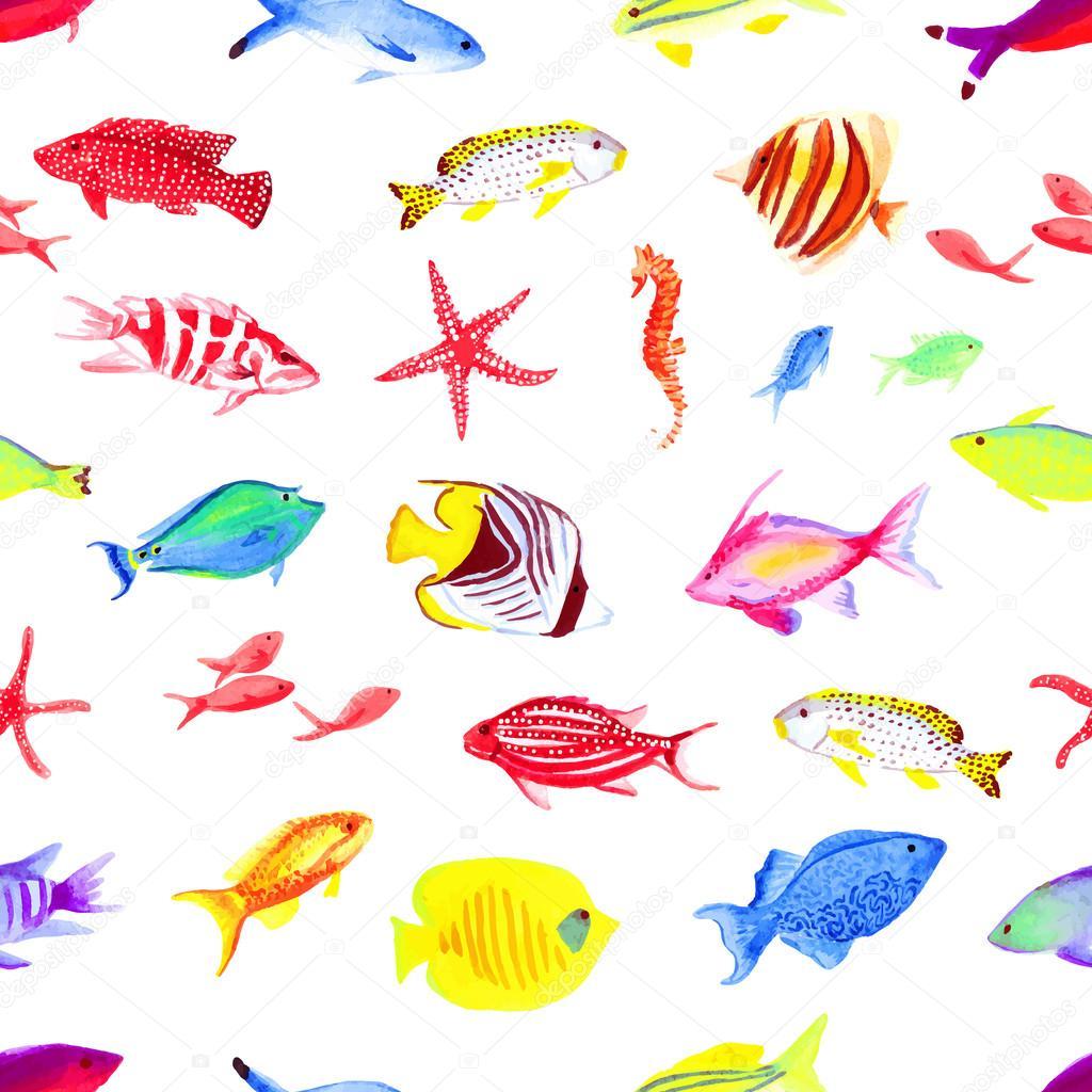 Colorful sea watercolor seamless vector print