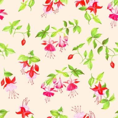 Beige blooming fuchsia seamless vector print