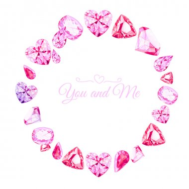 Pink diamonds watercolor round vector design frame