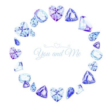 Blue diamonds watercolor round vector design frame