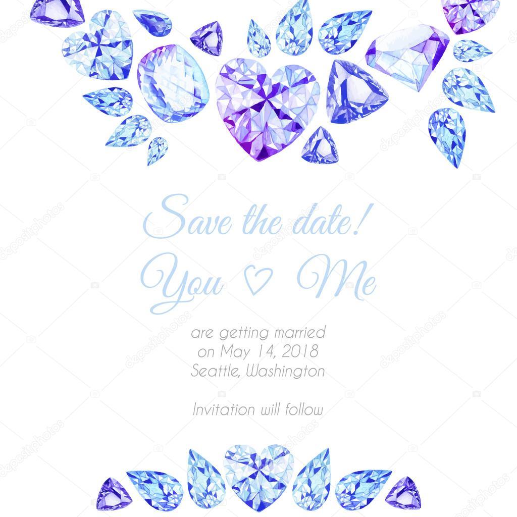 Blue and purple diamonds watercolor vector design frame