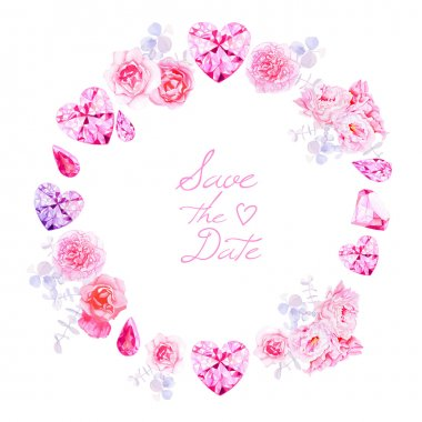 Pink diamonds, peonies and roses round vector frame