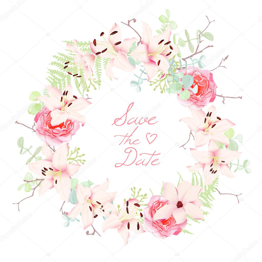 lilies roses and fern wedding wreath vector frame stock vector