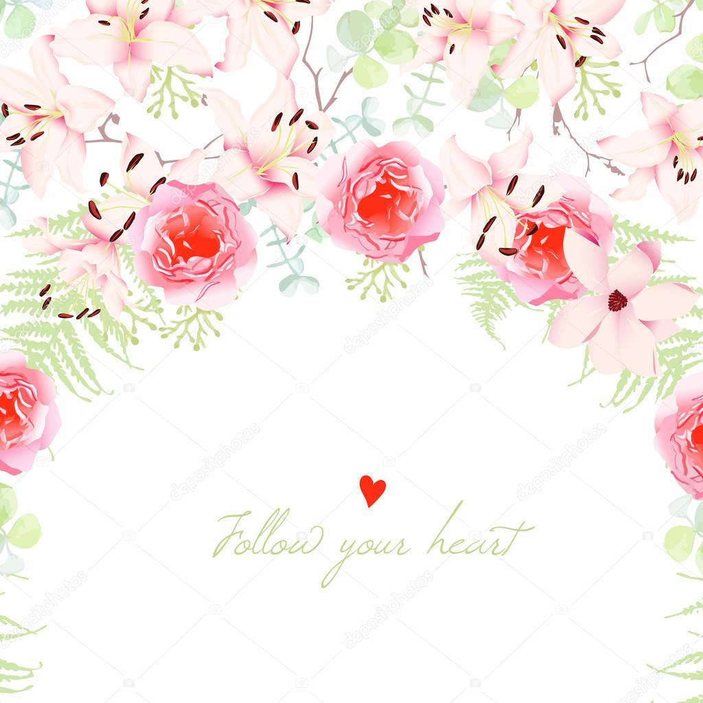 Hochzeit Lilien Und Rosa Blumen Vektor Karte Stockvektor