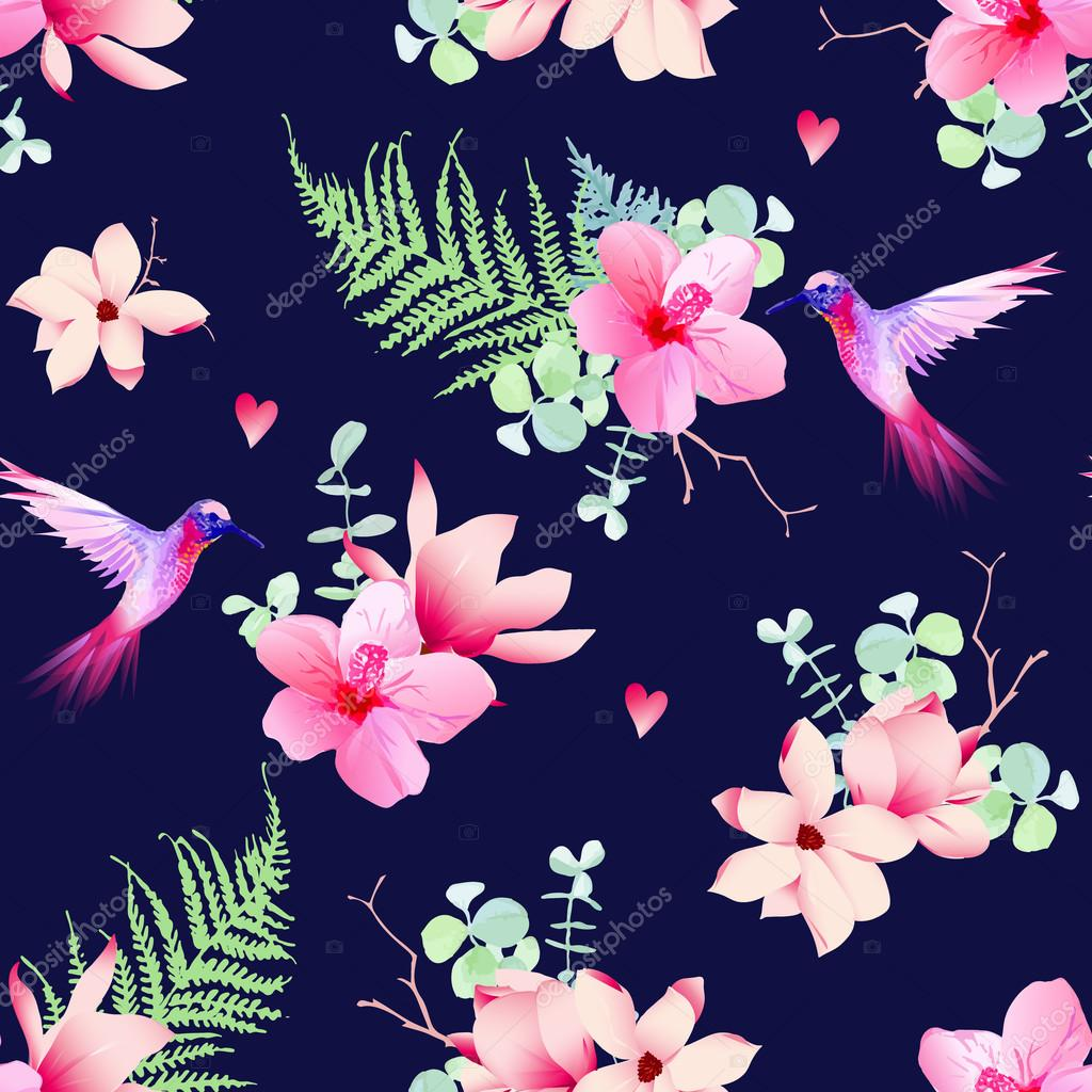 Navy pattern with tropical flowers and flying hummingbirds
