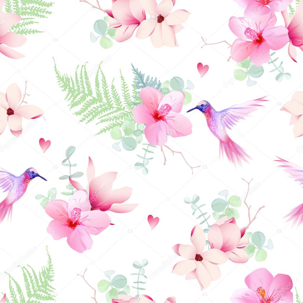 Delicate tropical flowers with hummingbirds seamless vector prin