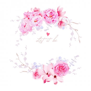 Spring magnolia and peonies vector frame. Gentle flowers wedding
