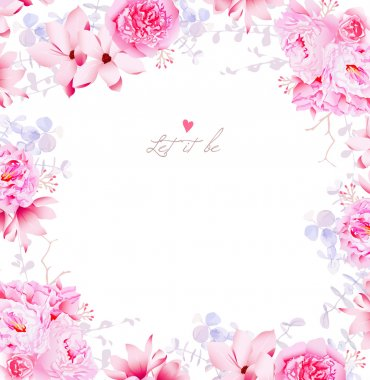 Elegant magnolia and peonies vector frame