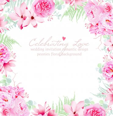 Luxury peonies and camellia vector frame. Gentle flowers wedding template. stock vector