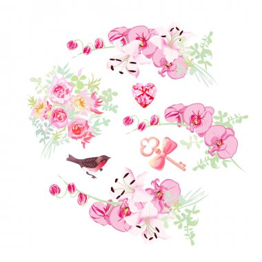 Orchid, lily and rose bouquets vector design objects. Bullfinch,