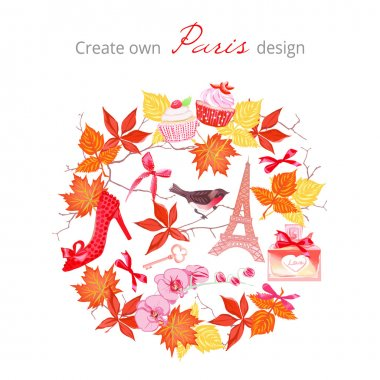 Create own Paris autumnal design vector set. All elements are is