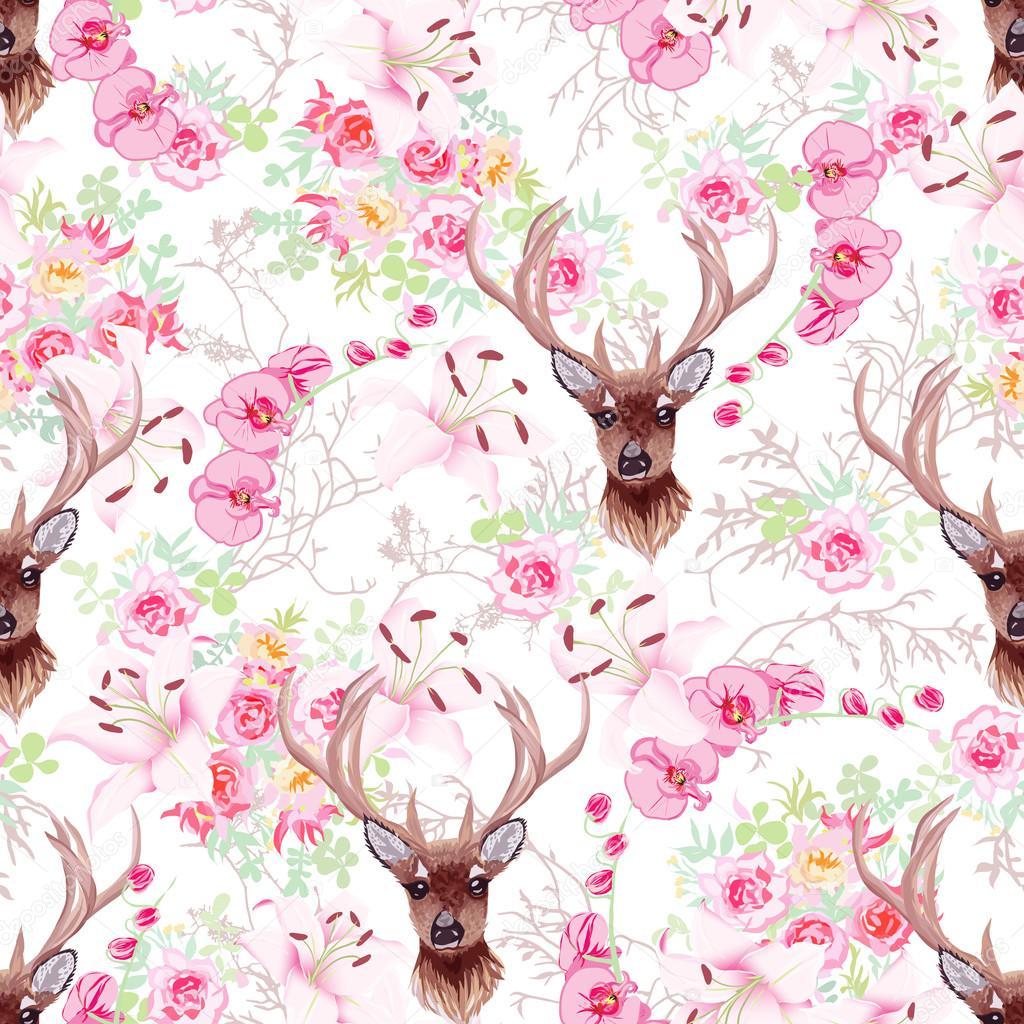 Elegante patrón de vector transparente Reno y flores — Archivo ...