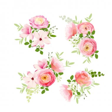 Wedding bouquets of roses, magnolia, ranunculus vector design el