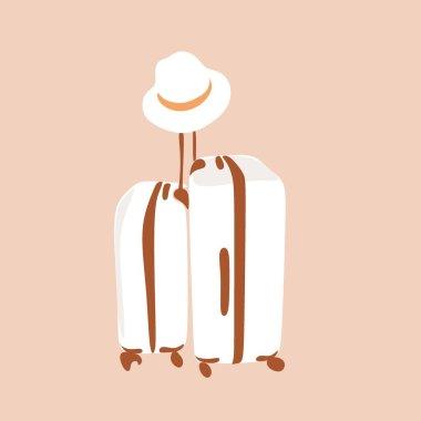 Travel bag boho line icon