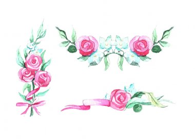 Illustration with ribbon and text and roses. Watercolor illustration for wedding day